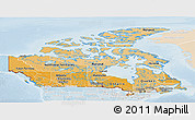 Political Shades Panoramic Map of Canada, lighten