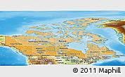 Political Shades Panoramic Map of Canada, physical outside