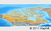 Political Shades Panoramic Map of Canada, semi-desaturated, land only