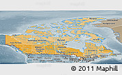 Political Shades Panoramic Map of Canada, semi-desaturated