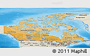 Political Shades Panoramic Map of Canada, shaded relief outside, bathymetry sea