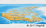 Political Shades Panoramic Map of Canada, single color outside