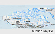 Silver Style Panoramic Map of Canada