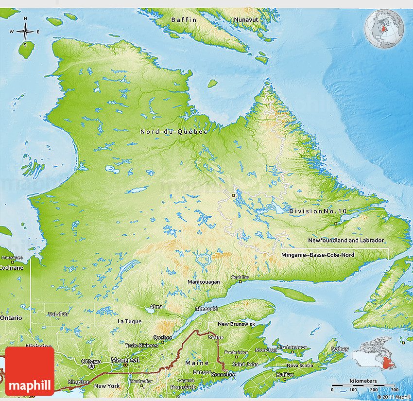 Physical D Map Of Quebec - Quebec state physical map