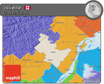 Free Shaded Relief Map of Joliette political outside