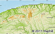 Physical map illustrates the natural geographic features of an area ...
