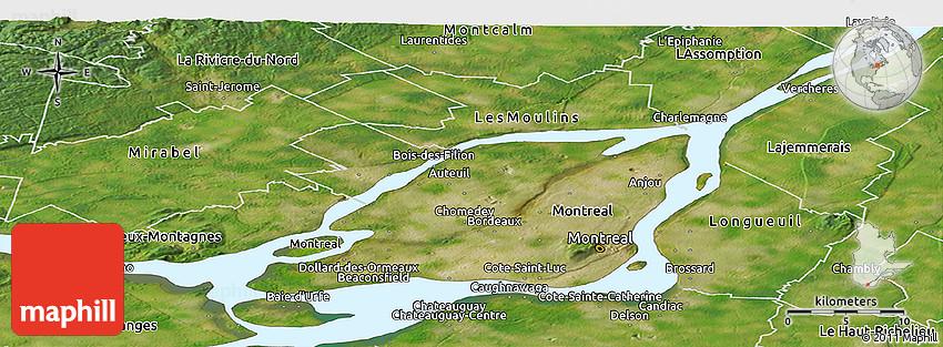 Satellite Panoramic Map of Laval