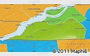 Physical Map of Le Haut-Saint-Laurent, political outside