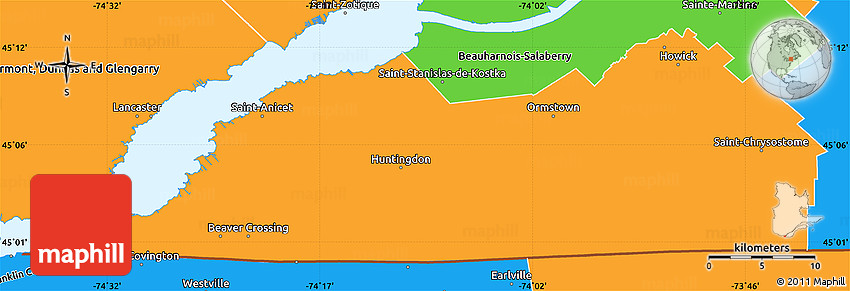 Political Simple Map of Le HautSaintLaurent