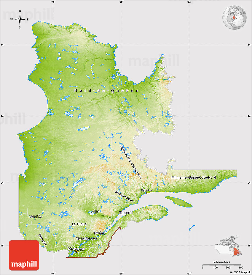 Physical Map Of Quebec Cropped Outside - Quebec state physical map