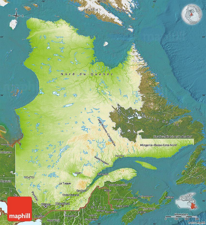 Physical Map Of Quebec Satellite Outside - Quebec state physical map