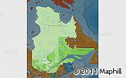 Political Shades Map of Quebec, darken