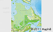 Political Shades Map of Quebec, physical outside