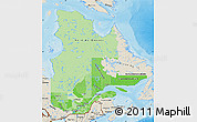 Political Shades Map of Quebec, shaded relief outside