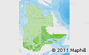 Political Shades Map of Quebec, single color outside