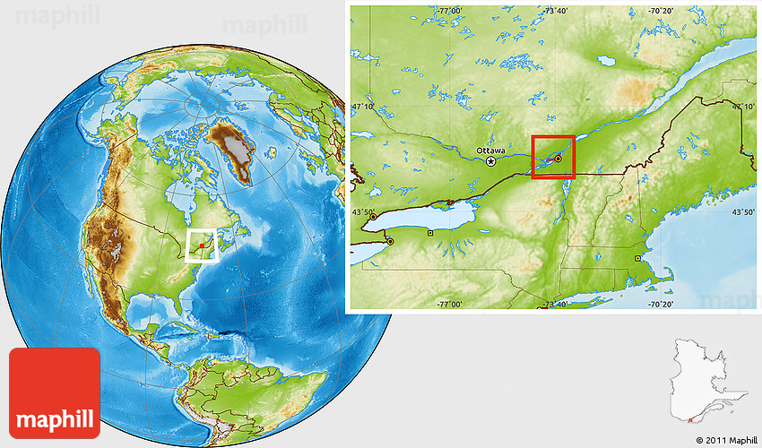 Map Of Canada Quebec Montreal.Physical Location Map Of Montreal