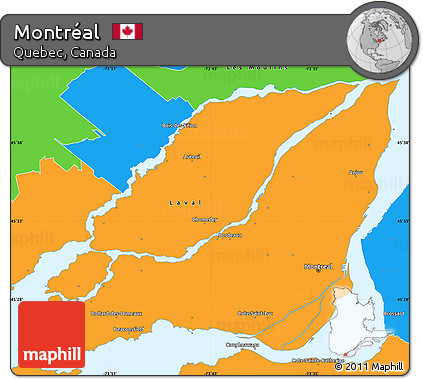 Map Of Canada Quebec Montreal.Free Political Simple Map Of Montreal