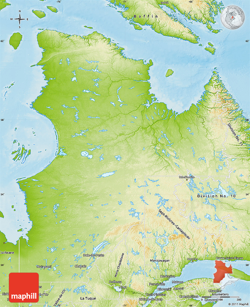 Physical Map Of NordduQuébec - Quebec state physical map