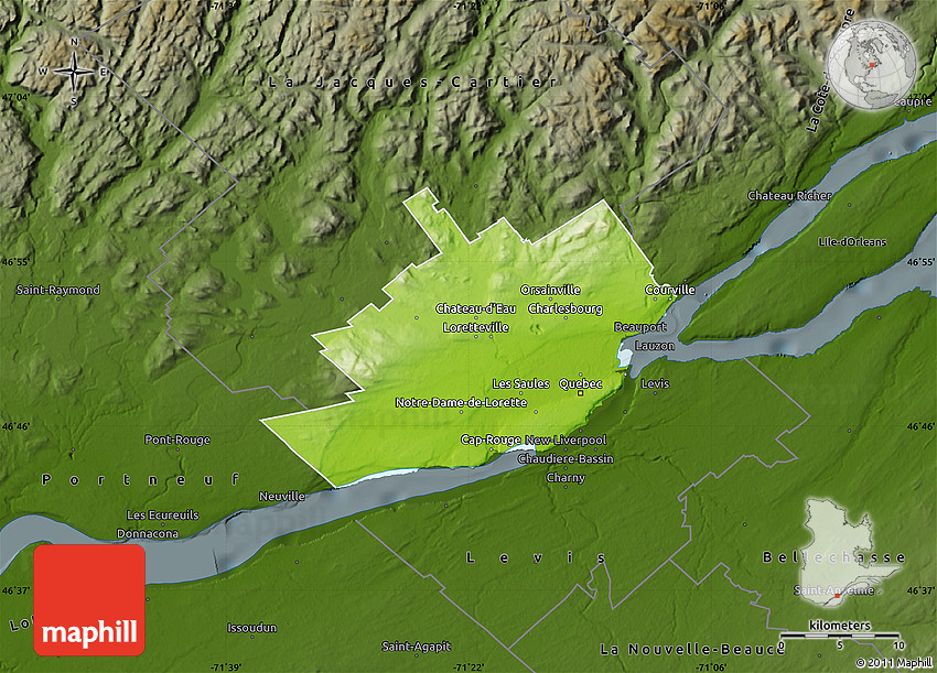 Physical Map Of Québec Darken - Quebec state physical map