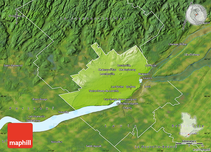 Physical Map Of Québec Satellite Outside - Quebec state physical map