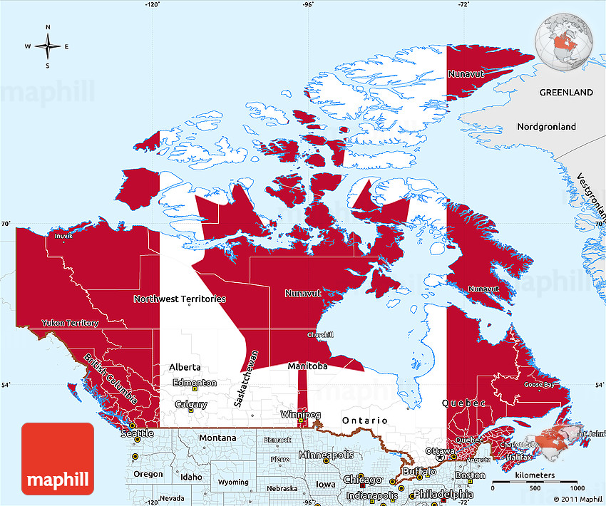 Map Of Canada With Labels.Flag Simple Map Of Canada Single Color Outside Borders And Labels