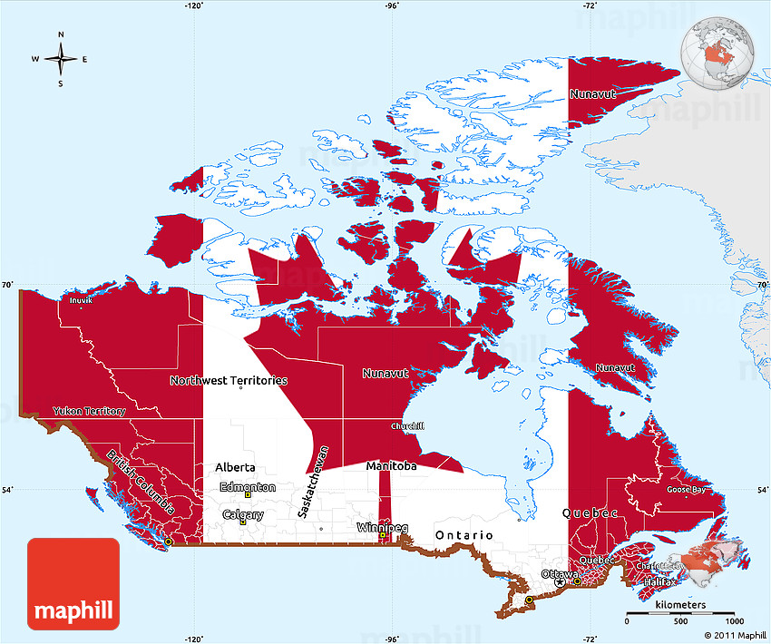 Flag Simple Map Of Canada Single Color Outside - Map of canada and lakes