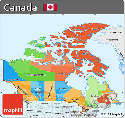 Free Political Simple Map of Canada single color outside borders