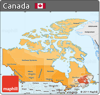 Free Political Shades Simple Map of Canada single color outside