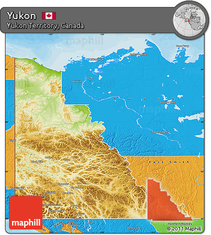 Physical Map Of Yukon Territory Canada Physical Map Of The Yukon - United states and canada physical map