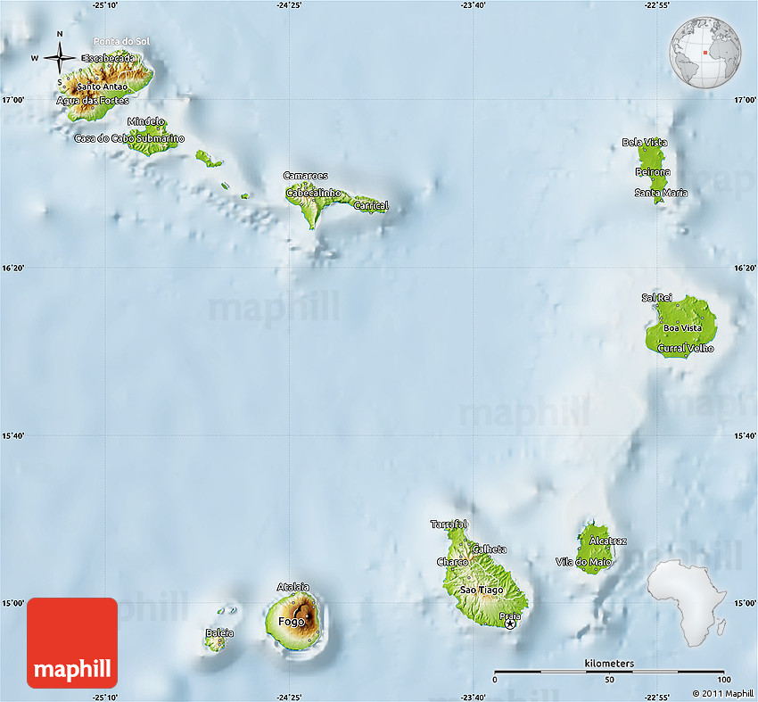 Physical Map of Cape Verde lighten