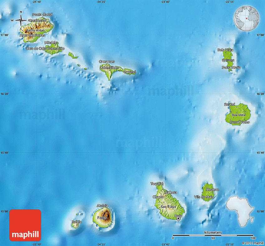 Physical Map Of Cape Verde - Cape verde map