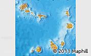 Political Map of Cape Verde, satellite outside, bathymetry sea