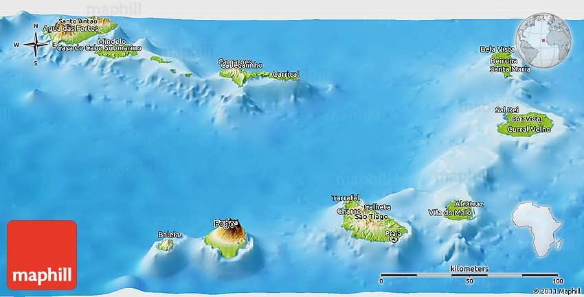 Physical Panoramic Map of Cape Verde