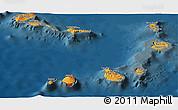 Political Shades Panoramic Map of Cape Verde, darken