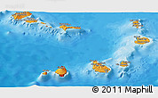 Political Shades Panoramic Map of Cape Verde, satellite outside, bathymetry sea