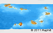 Political Shades Panoramic Map of Cape Verde, semi-desaturated, land only