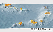 Political Shades Panoramic Map of Cape Verde, semi-desaturated