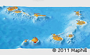 Political Shades Panoramic Map of Cape Verde, shaded relief outside, bathymetry sea