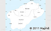 Silver Style Simple Map of Santo Antao