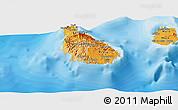 Political Shades Panoramic Map of Sao Tiago