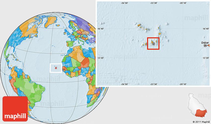 Political Location Map Of Praia - Praia map