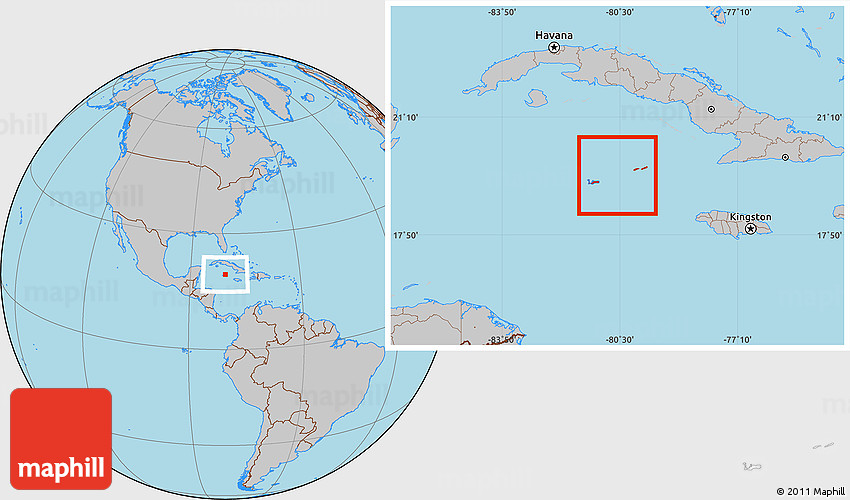 Gray Location Map of Cayman Islands