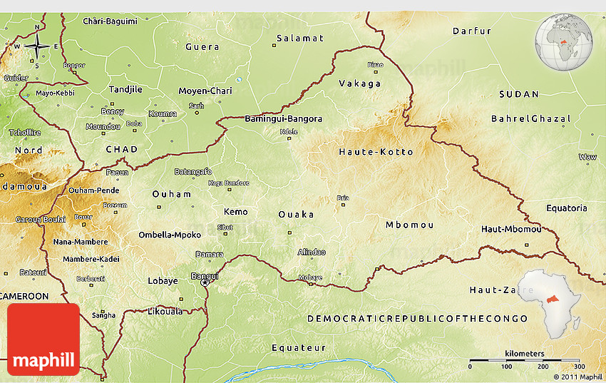 Physical D Map Of Central African Republic - Central africa map
