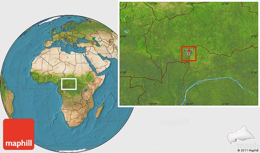 Satellite Location Map of Bangui