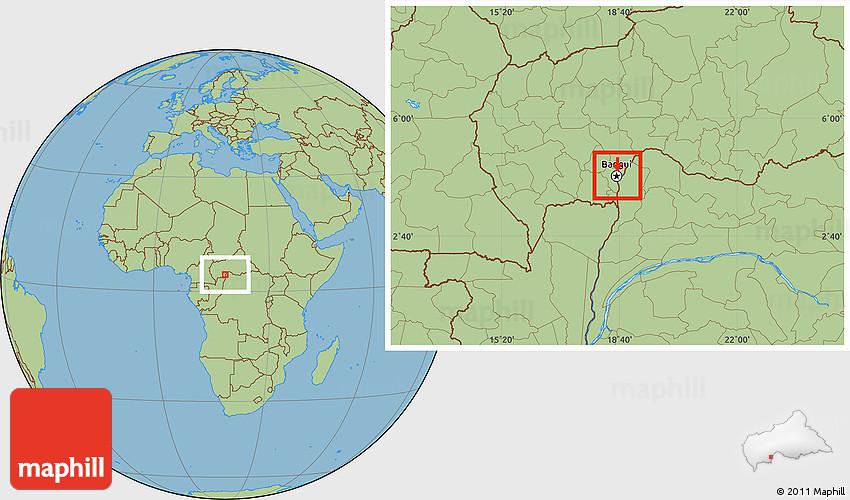 Savanna Style Location Map of Bangui