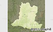 Physical Map of Basse-Kotto, darken