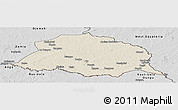 Shaded Relief Panoramic Map of Obo, desaturated