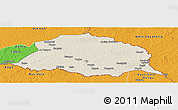 Shaded Relief Panoramic Map of Obo, political outside