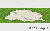 Shaded Relief Panoramic Map of Obo, satellite outside