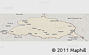 Shaded Relief Panoramic Map of Obo, semi-desaturated